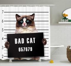 Mahkum Kedi Temalı Duş Perdesi Siyah Kahverengi