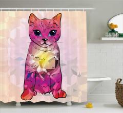 Kedi Severler için Duş Perdesi Modern Sanat Mor