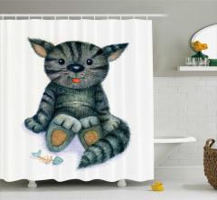 Çocuklar için Duş Perdesi Sevimli Kedi Desenli