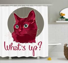 Sevimli Kedi Portresi Duş Perdesi Bordo Beyaz