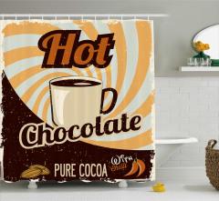 Dekoratif Desenli Duş Perdesi Sıcak Çikolata