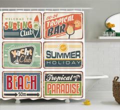 Retro Tabela Desenli Duş Perdesi Plaj ve Tatil