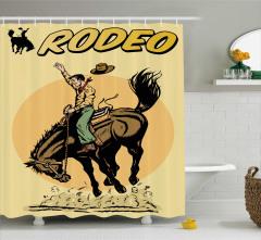 Retro Kovboy ve At Desenli Duş Perdesi Rodeo