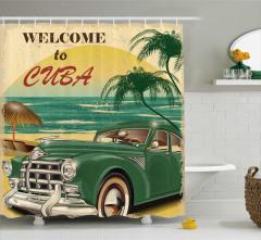Küba ve Klasik Araba Desenli Duş Perdesi Retro