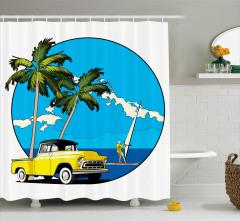 Palmiye ve Araba Desenli Duş Perdesi Nostaljik