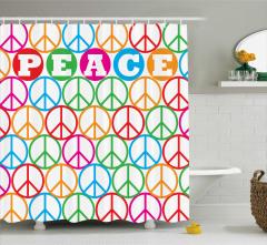 Barış Sembolü Desenli Duş Perdesi Rengarenk
