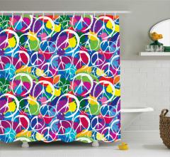 Rengarenk Barış Desenli Duş Perdesi Dekoratif