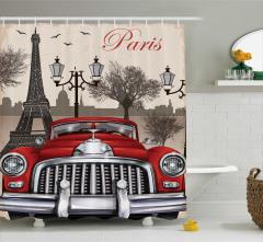 Paris ve Kırmızı Araba Temalı Duş Perdesi Şık
