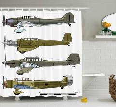 Nostaljik Duş Perdesi Eski Savaş Uçakları Yeşil