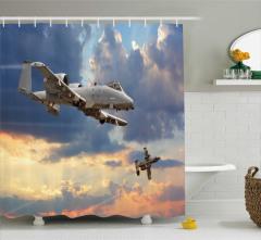 Askeri Uçak Temalı Duş Perdesi Bulutlar Mavi