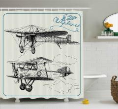 Karakalem Çizimi Etkili Duş Perdesi Nostaljik Uçak
