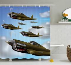 Çocuklar için Duş Perdesi Yeşil Savaş Uçakları Bulut