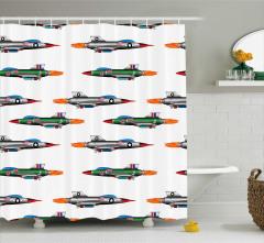 Çocuklar için Duş Perdesi Renkli Savaş Uçakları