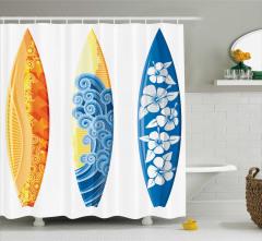 Sörf Tahtası Desenli Duş Perdesi Rengarenk