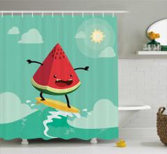Sörfçü Karpuz Desenli Duş Perdesi Çocuk İçin