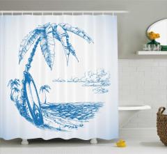 Palmiye Deniz ve Sörf Desenli Duş Perdesi Mavi