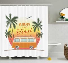Minibüs ve Palmiye Desenli Duş Perdesi Retro