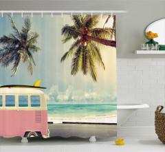 Minibüs ve Sörf Desenli Duş Perdesi Retro