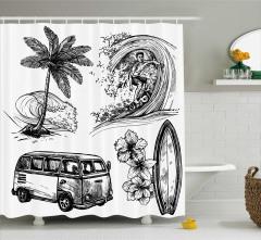 Sörf ve Minibüs Desenli Duş Perdesi Kara Kalem
