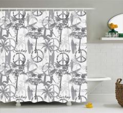 Barış ve Sörf Desenli Duş Perdesi Şık Tasarım