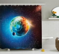 Uzay Temalı Duş Perdesi Dünya Ay Güneş Yıldızlar