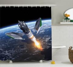 Uzay Yolculuğu Temalı Duş Perdesi Dünya Kozmos Mavi