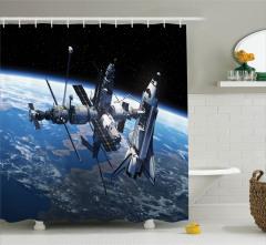 Uzay Temalı Duş Perdesi Dünya Kozmos Mavi Siyah