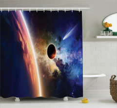 Uzay Temalı Duş Perdesi Kuyruklu Yıldız Gezegenler