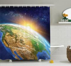 Uzay Temalı Duş Perdesi Güneş ve Dünya Gün Doğumu