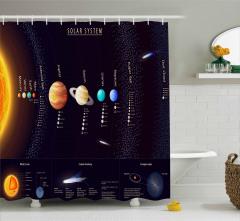 Uzay Temalı Duş Perdesi Samanyolu Galaksisi Gezegen