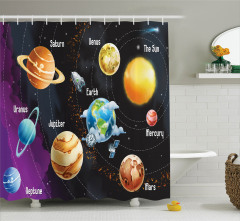 Uzay Temalı Duş Perdesi Güneş Sistemi Gezegenler