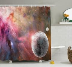 Uzay Temalı Duş Perdesi Donmuş Gezegen ve Yıldızlar