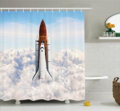 Uzay Yolculuğu Temalı Duş Perdesi Astronot Beyaz