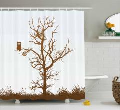 Kahverengi Duş Perdesi Ağaçta Komik Baykuş Desenli