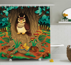 Çocuklar için Duş Perdesi Ormanda Yaşlı Baykuş Yeşil