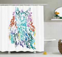 Rengarenk Duş Perdesi Kuş Tüyleriyle Baykuş Deseni