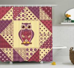 Baykuş Desenli Duş Perdesi Romantik Çeyizlik Sarı