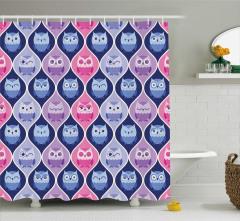 Baykuş Desenli Duş Perdesi Şık Tasarım Pembe Mavi