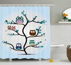 Çocuklar için Duş Perdesi Ağaçtaki Baykuşlar Mavi