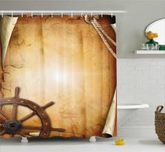 Dekoratif Dümen Desenli Duş Perdesi Kağıt Fon