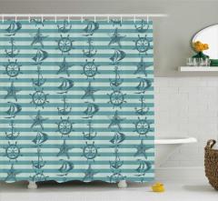 Mavi Denizcilik Desenli Duş Perdesi Şeritli