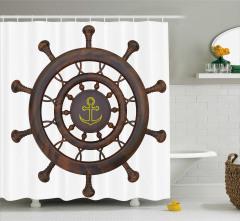 Gemi Desenli Duş Perdesi 3D Etkili Kahverengi