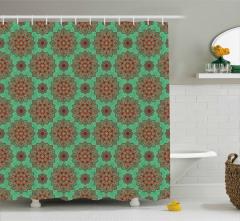 Yeşil Duş Perdesi Hint Tarzı Mandala Şekilleri Retro
