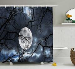Kış Temalı Duş Perdesi Ağaçlar Ay Işığı Siyah Mavi