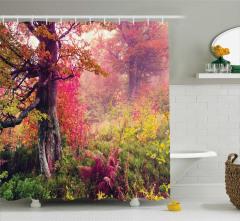 Sonbahar Temalı Duş Perdesi Doğa Orman Ağaç Turuncu