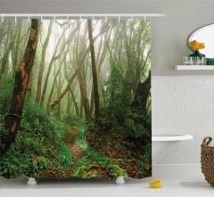 Gizemli Orman Temalı Duş Perdesi Ağaçlar Doğa Yeşil