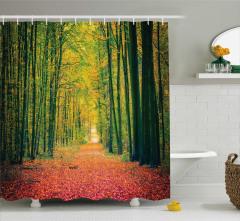Sonbahar Temalı Duş Perdesi Ağaç Sarı Turuncu Doğa