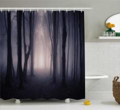 Gizemli Orman Temalı Duş Perdesi Ağaç Doğa Siyah Mor