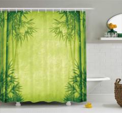Bambu Desenli Duş Perdesi Yeşil Şık Tasarım