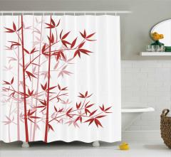 Bambu Desenli Duş Perdesi Kırmızı Beyaz Ağaç
